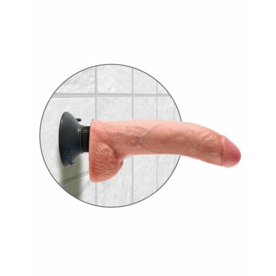 King Cock 9 inch Vibrating Cock With Balls Flesh élethű vibrátor